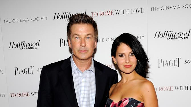 "Actor Alec Baldwin and his fiancee Hilaria Thomas arrive at a special screening of ""To Rome With Love"" hosted by The Cinema Society with The Hollywood Reporter & Piaget at the Paris Theatre on Wednesday June 20, 2012 in New York. (Photo by Evan Agostini/Invision/AP)"