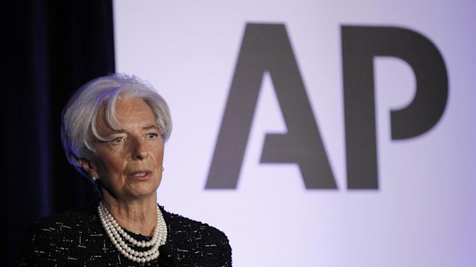 International Monetary Fund (IMF) Managing Director Christine Lagarde speaks at The Associated Press Annual Meeting in Washington, Tuesday, April, 3, 2012. (AP Photo/Pablo Martinez Monsivais)