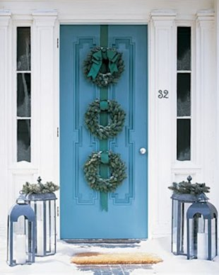 Blue Door and Three Wreaths