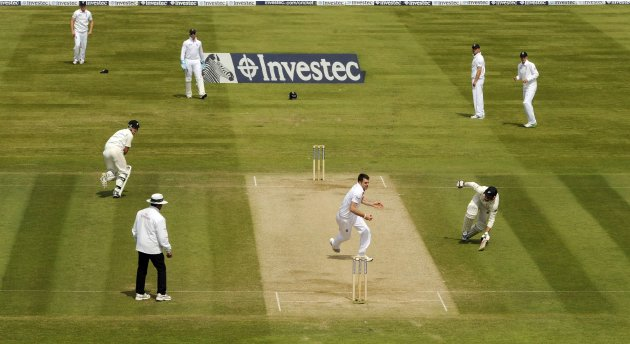 England's Anderson runs to the stumps to run out New Zealand's Wagner and complete victory for England in the first test cricket match at Lord's cricket ground in London