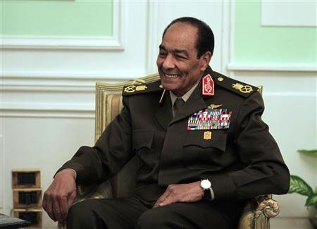 Egypt's ruling military council Field Marshal Tantawi smiles as he meets U.S. Chairman of the Joint Chiefs of Staff General Dempsey in Cairo