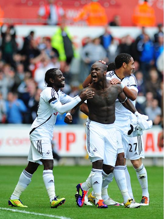Leroy Lita, centre, has fallen out of favour at Swansea
