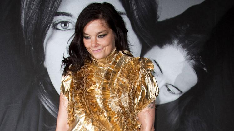 "FILE -- In a Tuesday, June 1, 2010 file photo, Bjork attends Marina Abramovic's ""The Artist is Present"" exhibition closing party hosted by Givenchy at the Museum of Modern Art in New York.  Bjork won a 2012 Webby Award for Artist of the Year. (AP Photo/Charles Sykes, File)"