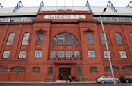 This file photo shows the facade of Glasgow Rangers football club, pictured in Glasgow, Scotland, in February. Fallen Glasgow giants are preparing for their first competitive match since the club was reformed as a new company following liquidation when they take on Brechin City in the Challenge Cup on Sunday