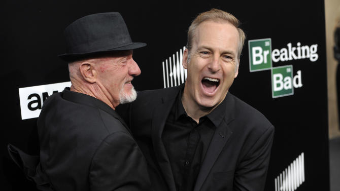 """FILE - This July 24, 2013 file photo shows former cast member Jonathan Banks, left, and current cast member Bob Odenkirk, from """"Breaking Bad,"""" on the red carpet at a premiere screening to celebrate the final episodes in Los Angeles. AMC and Sony Pictures Television on Wednesday confirmed that Odenkirk, who plays Saul Goodman, will star in a one-hour prequel tentatively titled """"Better Call Saul."""" Breaking Bad"""" concludes its much-acclaimed five-season run on Sept. 29. (Photo by Chris Pizzello/Invision/AP, File)"""