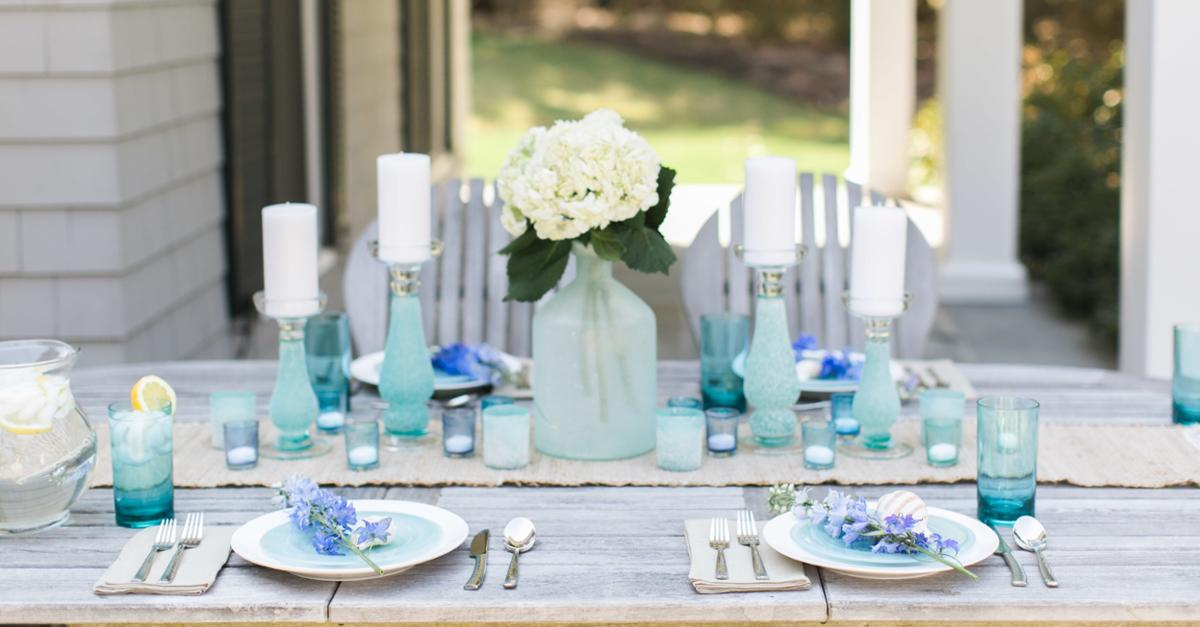 Seaglass Inspired Tablescape & DIY Ombre Votives