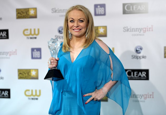 Jacki Weaver poses backstage with the award for best comedy movie for &quot;Silver Linings Playbook&quot; at the 18th Annual Critics&#39; Choice Movie Awards at the Barker Hangar on Thursday, Jan. 10, 2013, in Santa Monica, Calif. (Photo by John Shearer/Invision/AP)