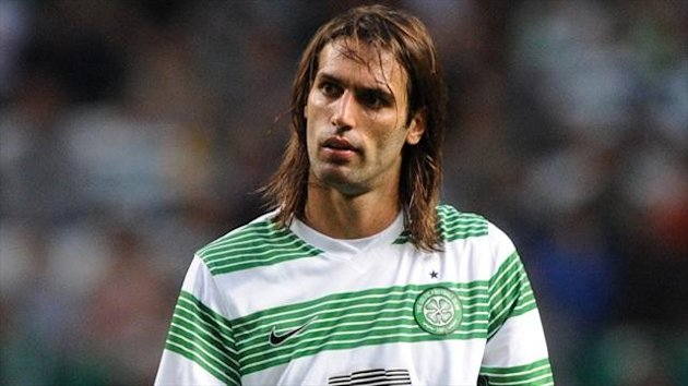 Georgios Samaras had a good chance to extend Celtic's aggregate lead in the first half