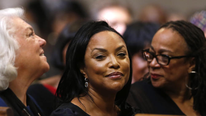 Actress Lynn Whitfield attends a memorial service for actress Ruby Dee at The Riverside Church, Saturday, Sept. 20, 2014 in New York. (AP Photo/Jason DeCrow)