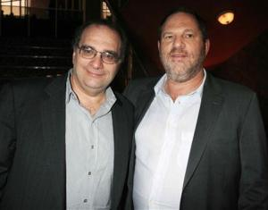 Bob Weinstein and his brother Harvey Weinstein pose at movie premiere in Los Angeles