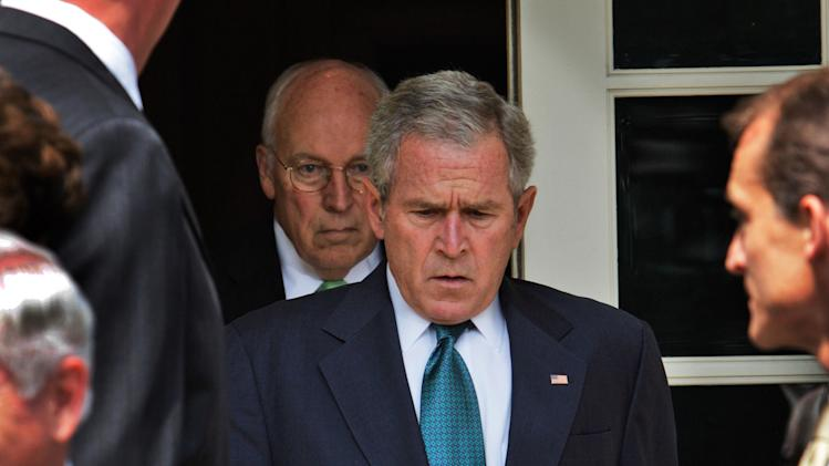 "This July 30, 2008 file photo shows President Bush, followed by Vice President Dick Cheney, as he leaves the Cabinet Room of the White House in Washington, to make a statement in the Rose Garden following a Cabinet meeting in Washington, D.C.  ""The World According to Dick Cheney"" is included in the documentary premieres at the upcoming 2013 Sundance Film Festival in January.  (AP Photo/Ron Edmonds, File)"