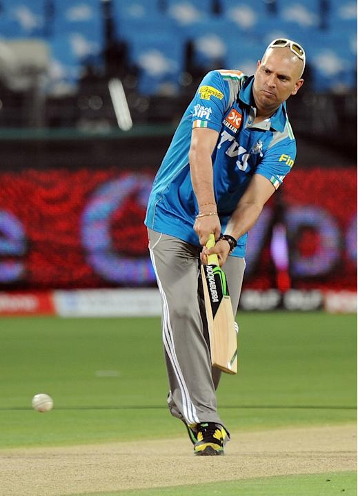 Indian cricketer Yuvraj Singh practices
