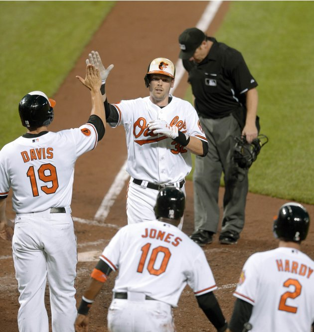 Baltimore Orioles Wieters is greeted by teammate after belting a three-run homer in the third inning of their MLB American League baseball game in Baltimore
