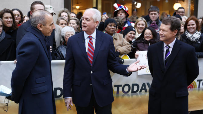 """This image released by NBC shows co-host Matt Lauer, left, with PGA of America president Ted Bishop, center and golfer Tom Watson on NBC News' """"Today"""" show, Thursday, Dec. 13, 2012 in New York. Watson was announced as the captain for the U.S. Ryder Cup team.  (AP Photo/NBC, Peter Kramer)"""