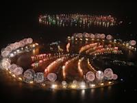 Fireworks exploded over Palm Jumeirah in Dubai on January 1, 2014 to celebrate the new year.