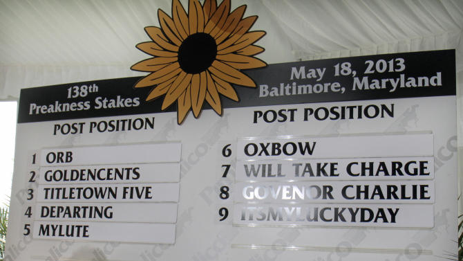 The field for the 138th Preakness Stakes is set after a blind draw at Pimlico Race Course in Baltimore, Wednesday, May 15, 2013. Despite getting the inside post in Wednesday's draw, Orb was made an even-money favorite to win the Preakness and keep alive his bid to become horse racing's first Triple Crown winner since Affirmed in 1978. (AP Photo/Garry Jones)