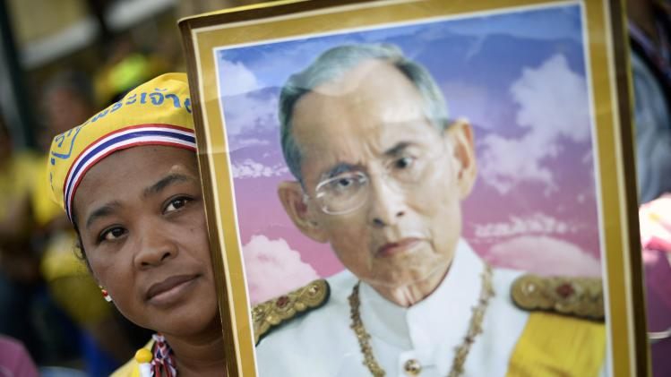 An anti-government protester holds a poster of Thai King Bhumibol to celebrate his 86th birthday in Bangkok