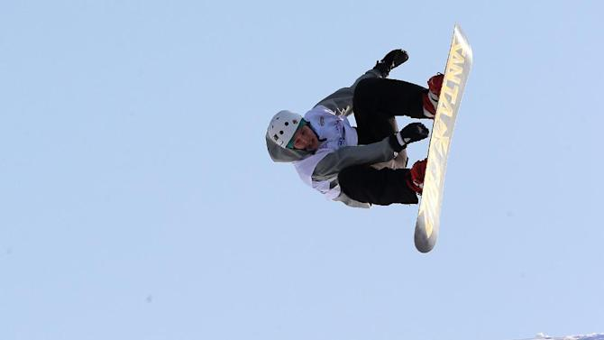 Emiliano Lauzi of Italy performs during the Men's Big-Air snowboard World Cup on the campus of Istanbul Technical University, ITU, in Istanbul, Turkey, Saturday, Dec. 20, 2014. Istanbul host the first-ever World Cup on Turkish soil but also the first-ever Big Air event for both, men and women. (AP Photo)