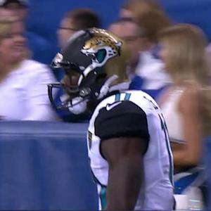Jacksonville Jaguars quarterback Blake Bortles slings 37-yard pass to wide receiver Marqise Lee