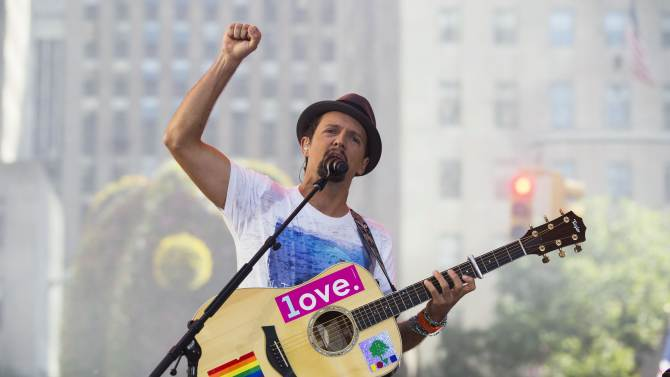 """Singer Jason Mraz performs on NBC's """"Today"""" show in New York"""