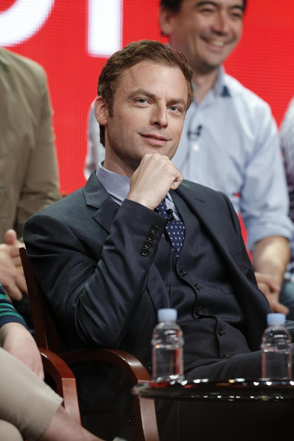 "This Tuesday, July 24, 2012 photo released by NBC shows Justin Kirk from the upcoming series ""Animal Practice,"" during the NBCUniversal Press Tour in Beverly Hills, Calif. The series premieres Wednesday, Sept. 26, at 8 p.m. EST on NBC. (AP Photo/NBC, Chris Haston)"