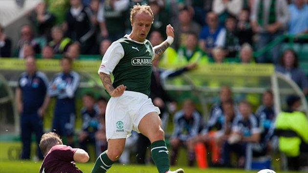 Hibernian's Leigh Griffiths had an effort wrongly adjudged not to have crossed the line