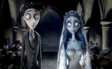 Victor Van Dort (voiced by Johnny Depp ) and the Corpse Bride (voiced by Helena Bonham Carter ) in Warner Bros. Pictures' stop-motion animated film Tim Burton's Corpse Bride