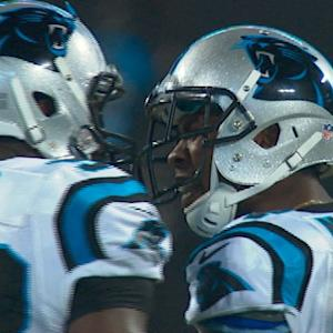 Carolina Panthers linebacker Thomas Davis gets in cornerback Josh Norman's face