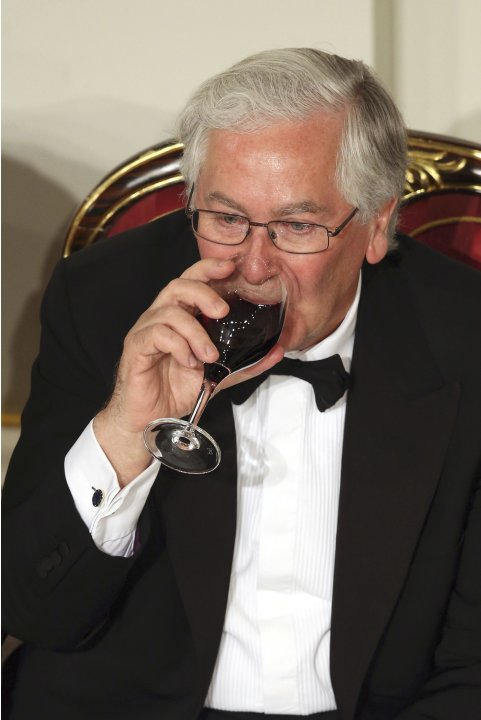 Governor of the Bank of England Mervyn King listens to speeches during the 'Lord Mayor's Dinner to the Bankers and Merchants of the City of London' at the Mansion House in London