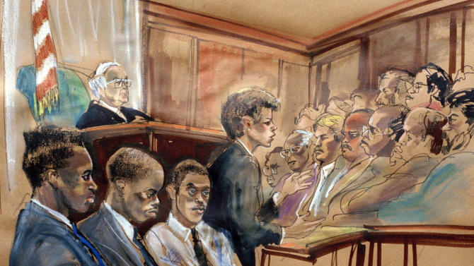 FILE - In this June 25, 1990 file photo of an artist's rendering of the opening statements in the Central Park rape trial made in the State Supreme Court in New York, from left, defendants Yusef Salaam, Antron McCray and Raymond Santana sit in court while Assistant District Attorney Elizabeth Lederer speaks and Judge Thomas B. Galligan listens from the bench, upper left. Five teenage boys maintained their innocence as they grew up behind bars after being convicted of the rape and beating of the woman who came to be known as the Central Park jogger. Their convictions were eventually tossed out by a judge when new evidence surfaced linking someone else to the crime. But their legal battle goes on: A $250 million federal lawsuit against police and prosecutors has been pending nearly a decade, with no resolution in sight.  (AP Photo/Marilyn Church, File)