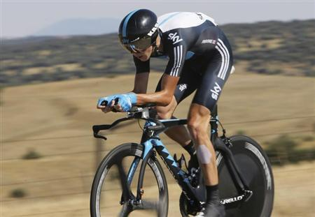 "Sky Procycling's Froome of Britain cycles during the tenth stage of the Tour of Spain ""La Vuelta"" cycling race in Salamanca"