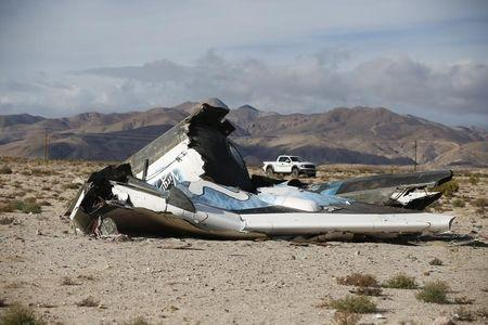 A piece of debris is seen near the crash site of Virgin Galactic's SpaceShipTwo near Cantil