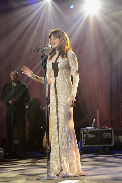 The combination of the overhead lights streaming down on stage at the A&E upfront at Lincoln Center, her sun-soaked waves and her white embroidered Jonathan Saunders mesh gown made Florence appear eer
