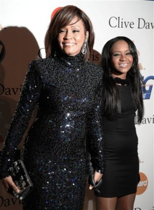 Whitney Houston and her daughter, Bobbi Kristina Brown, at a pre-Grammy party in 2011. (AP Photo/Dan Steinberg)