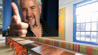 Guy Fieri Films at Biju's Little Curry Shop and Axios