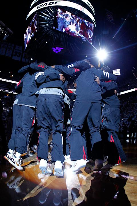 The Miami Heat Huddle Up Prior To Playing Against The Oklahoma City Thunder In Game Four Of The 2012 NBA Finals On  Getty Images
