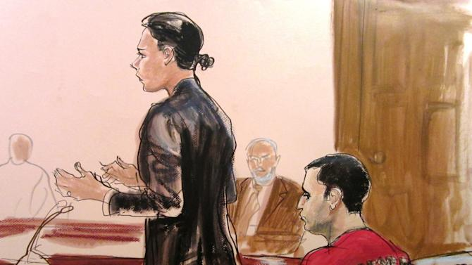 FILE - In this Oct. 25, 2012, file courtroom drawing, Federal Defender Julie Gatto requests bail for her client, New York City Police Officer Gilberto Valle, right, at Manhattan Federal Court in New York. The FBI claims its analysis found that 40 of Valle's emails and chats were evidence he wanted to abduct, torture and eat women. But an agent also testified on Wednesday, Feb. 27, 2013 at Valle's federal trial that there were thousands of others the FBI concluded were mere fantasy, even though they contain the same ghoulish elements. (AP Photo/Elizabeth Williams, File)