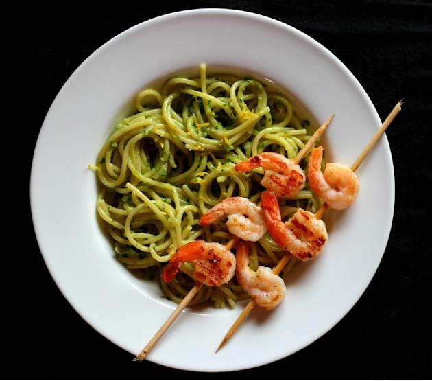 Pasta with Creamy Avocado Pesto and Grilled Shrimp