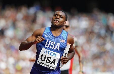 Athletics - World Athletics Championships – men's 4 x 100 meters relay heats – London Stadium, London, Britain – August 12, 2017 – Christian Coleman of the U.S. competes. REUTERS/Lucy Nicholson