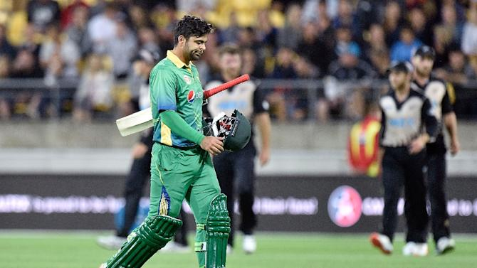 Ahmed Shehzad of Pakistan walks from the field after being dismissed during the third T20 against New Zealand at Westpac Stadium in Wellington on January 22, 2016