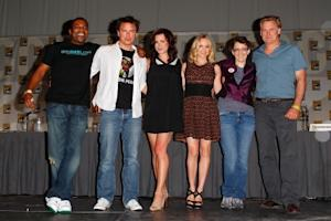 "Mekhi Phifer, John Barrowman, Eve Myles, Jena Hayes, Jane Epenson and Bill Pullman attend the ""Torchwood"" panel at 2011 Comic-Con International - Day 2 at San Diego Convention Center, San Diego, on July 22, 2011 -- FilmMagic"