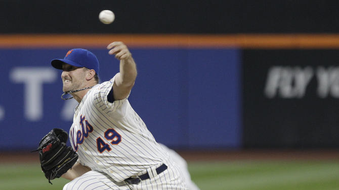 New York Mets' Jonathon Niese (49) delivers a pitch during the first inning of an interleague baseball game against the New York Yankees, Friday, June 22, 2012, in New York. (AP Photo/Frank Franklin II)