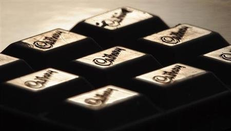 The Cadburys logo is seen on a bar of chocolate December 14, 2009. REUTERS/Toby Melville/Files