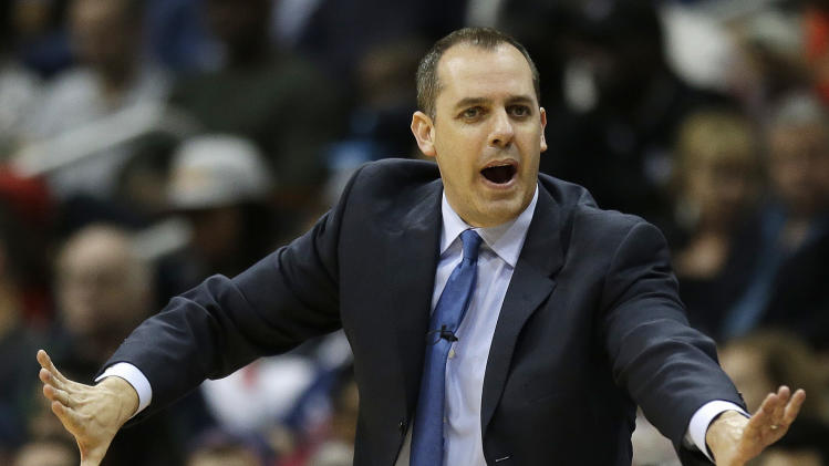 Indiana Pacers head coach Frank Vogel speaks to players against the Atlanta Hawks during the second half of an NBA first-round playoff basketball game in Atlanta, Friday, May 3, 2013.