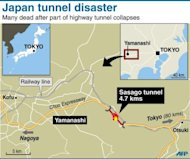 Graphic map locating the Sasago tunnel in Japan. On Monday, the Japanese government ordered inspections of 49 highway tunnels as the focus of investigations at Sasago turned to decaying ceiling supports.