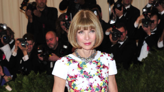 """Anna Wintour attends The Metropolitan Museum of Art's Costume Institute benefit celebrating """"PUNK: Chaos to Couture"""" on Monday May 6, 2013 in New York. (Photo by Charles Sykes/Invision/AP)"""