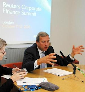 Head of European Investment Banking at JP Morgan Chase & Co Diederichs addresses the Corporate Finance Summit at Reuters global headquarters in east London