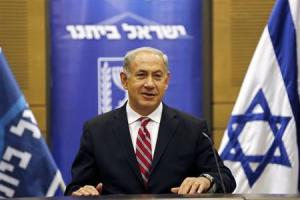 Israel's Prime Minister Netanyahu attends a Likud-Beitenu faction meeting at the Knesset in Jerusalem