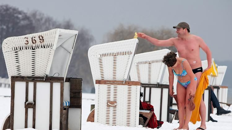 Wannsee Lake Opens To Bathers Despite Ongoing Winter