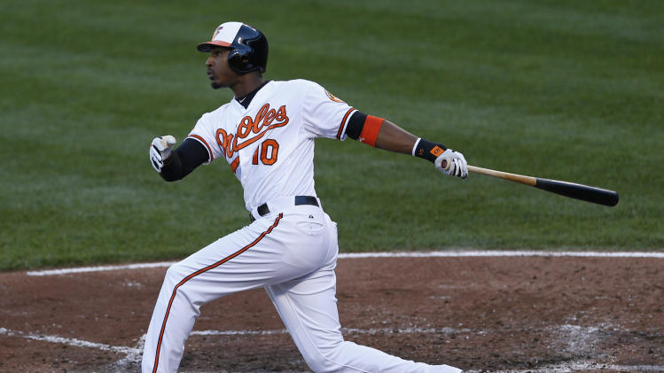 Baltimore Orioles' Adam Jones watches his two-run home run in the fourth inning of the first baseball game of a doubleheader against the Toronto Blue Jays in Baltimore, Monday, Sept. 24, 2012. (AP Photo/Patrick Semansky)